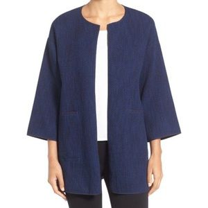 Eileen Fisher open cardigan cotton jacket blue